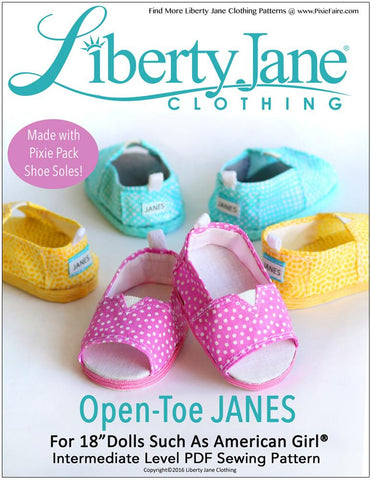"Liberty Jane Shoes Open-Toe JANES 18"" Doll Shoe Pattern Pixie Faire"