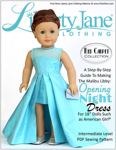 "Liberty Jane 18 Inch Modern Opening Night Dress 18"" Doll Clothes Pattern Pixie Faire"