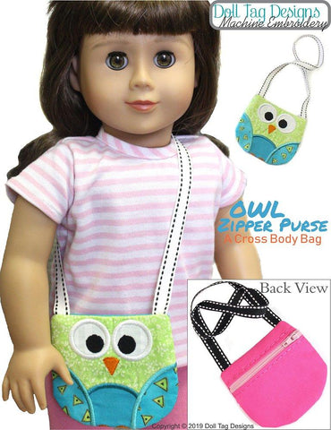 "Owl Zipper Purse 18"" Doll Machine Embroidery Designs"