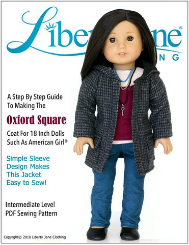 "Oxford Square Coat 18"" Doll Clothes Pattern"