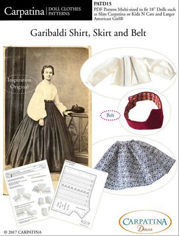 "Garibaldi Shirt, Skirt and Belt Multi-sized Pattern for Regular and Slim 18"" Dolls"