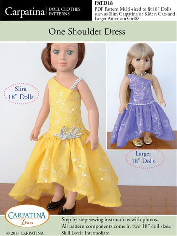 "One Shoulder Dress Multi-sized Pattern for Regular and Slim 18"" Dolls"