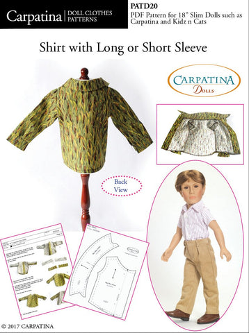 "Shirt with Long and Short Sleeves Pattern for Slim 18"" Boy Dolls"