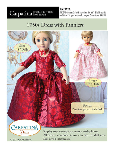 "Carpatina Dolls 18 Inch Historical 1750's Dress with Panniers Multi-sized Pattern for Regular and Slim 18"" Dolls Pixie Faire"