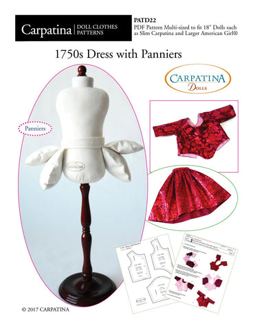 "1750's Dress with Panniers Multi-sized Pattern for Regular and Slim 18"" Dolls"