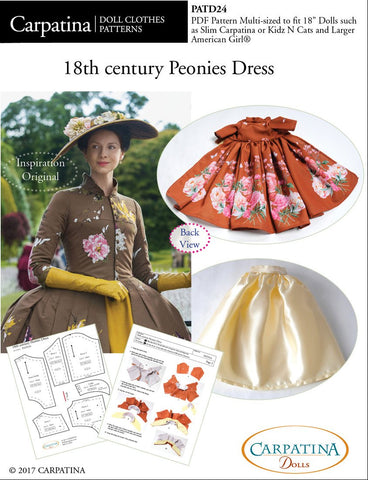 "18th Century Peonies Dress Multi-sized Pattern for Regular and Slim 18"" Dolls"