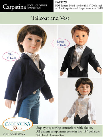 "Carpatina Dolls 18 Inch Boy Doll Tailcoat and Vest Multi-sized Pattern for Regular and Slim 18"" Boy Dolls Pixie Faire"