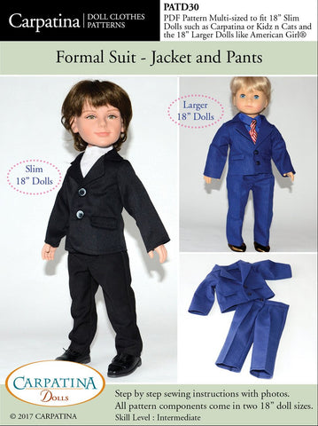 "Formal Suit - Jacket and Pants Multi-sized Pattern for Regular and Slim 18"" Boy Dolls"
