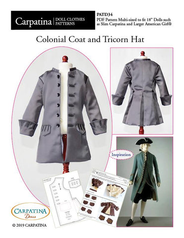"Colonial Coat and Tricorn Hat Multi-sized Pattern for Regular and Slim 18"" Boy Dolls"