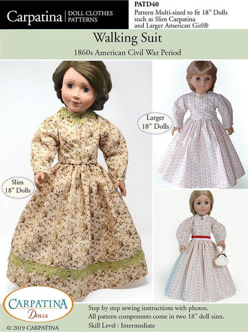 "Walking Suit - 1860s Multi-sized Pattern for Regular and Slim 18"" Dolls"