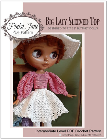 "Big Lacy Sleeved Top Crochet Pattern For 12"" Blythe Dolls"