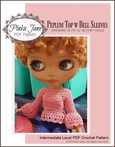 "Peplum Top w Bell Sleeves Doll Clothes Crochet Pattern For 12"" Blythe Dolls"