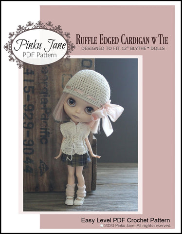 "Ruffle Edged Cardigan With Tie Crochet Pattern For 12"" Blythe Dolls"