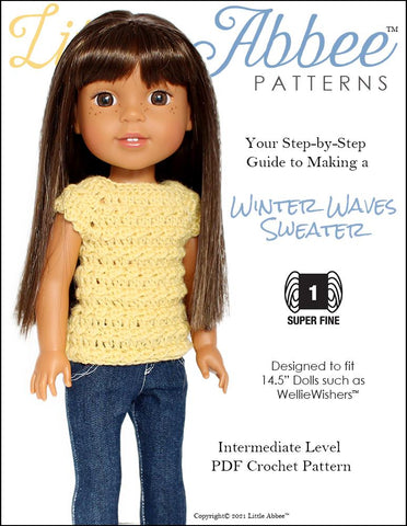 "Winter Waves Sweater Crochet Pattern for 14.5"" Dolls"