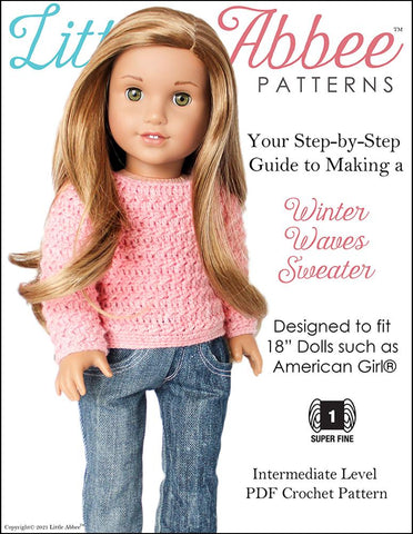 Winter Waves Sweater Crochet Pattern for 18 Inch Dolls