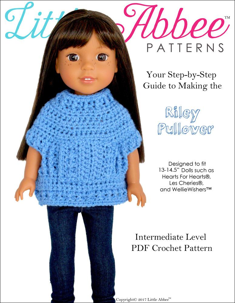Little Abbee Riley Pullover Doll Clothes Crochet Pattern For 13 145
