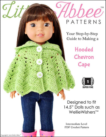 "Little Abbee WellieWishers Hooded Chevron Cape Crochet Pattern for 14.5"" Dolls Pixie Faire"