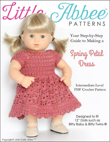 "Spring Petal Dress 15"" Baby Doll Crochet Pattern"