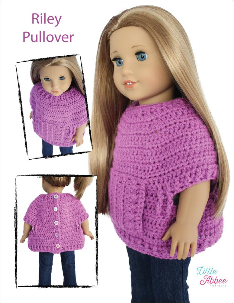 Little Abbee Riley Pullover Doll Clothes Crochet Pattern 18 Inch
