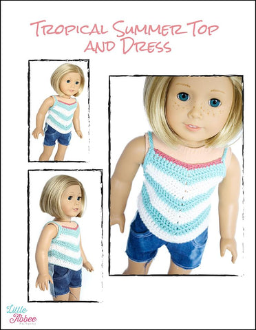"Tropical Summer Top and Dress Crochet Pattern 18"" Dolls"