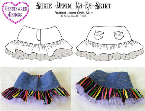 "Sukie Denim Ra-Ra Skirt 18"" Doll Clothes Pattern"