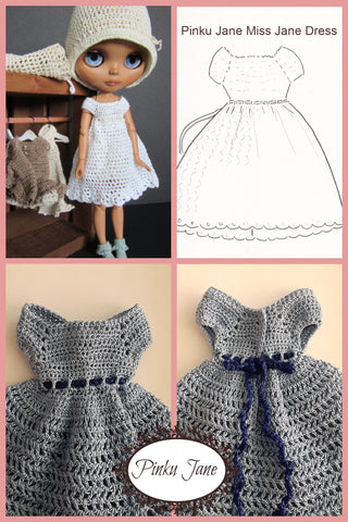 "Miss Jane Dress Crochet Pattern For 12"" Blythe Dolls"