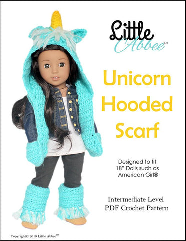Unicorn Hooded Scarf and Leg Warmers Crochet Pattern