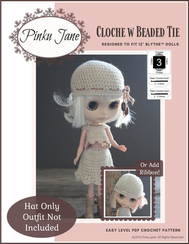 "Cloche Hat With Beaded Tie Crochet Pattern For 12"" Blythe Dolls"