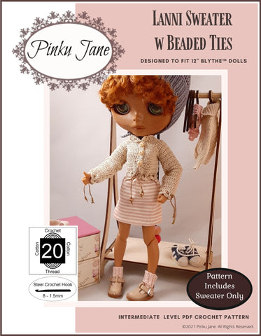 "Lanni Sweater w/ Beaded Ties Crochet Pattern For 12"" Blythe Dolls"