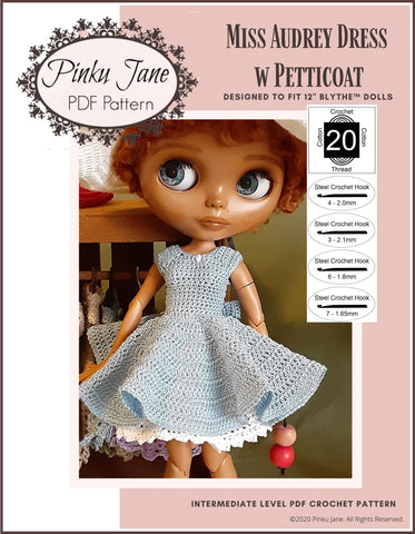 "Miss Audrey Dress and Petticoat Crochet Pattern For 12"" Blythe Dolls"