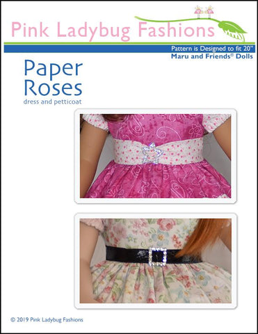 Paper Roses Dress and Petticoat Pattern for Maru and Friends Dolls