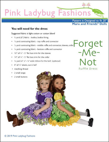 Forget Me Not Ruffle Dress Pattern for Maru and Friends Dolls