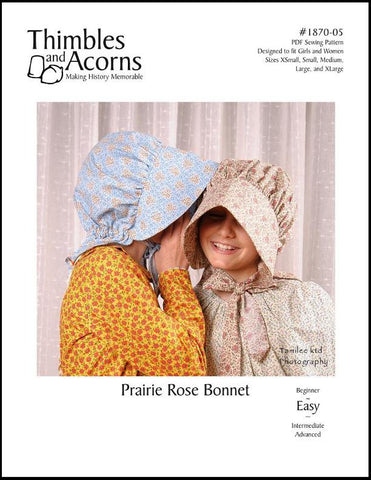 Thimbles and Acorns Girls Prairie Rose Bonnet for Girls and Women Pixie Faire
