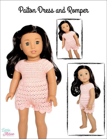 PDF doll clothes crochet pattern Little Abbee Paiton Dress and Romper designed to fit 18 inch American Girl dolls