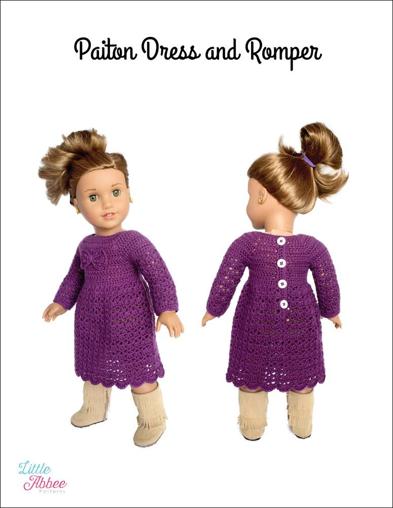 Paiton Dress and Romper Doll Clothes Crochet Pattern 18 inch ...