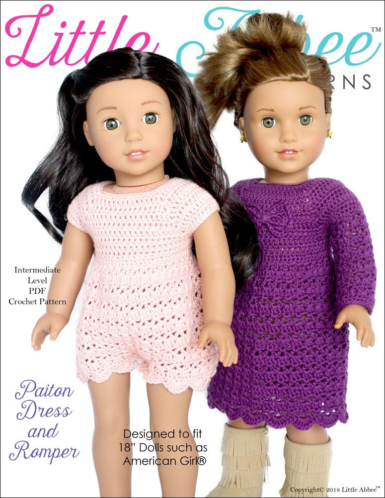 Paiton Dress And Romper Doll Clothes Crochet Pattern 18 Inch