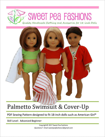"Sweet Pea Fashions 18 Inch Modern Palmetto Swimsuit & Cover-up 18"" Doll Clothes Pattern Pixie Faire"