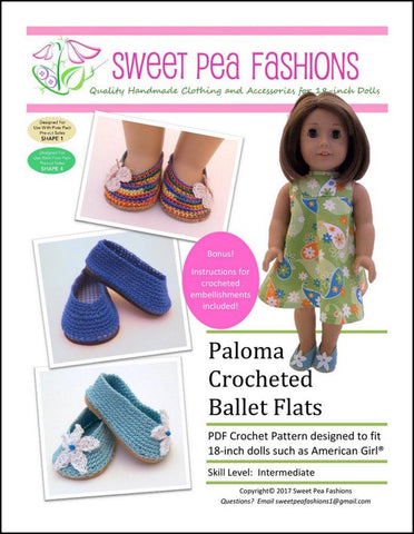 "Sweet Pea Fashions Crochet Paloma Crocheted Ballet Flats 18"" Doll Crochet Pattern Pixie Faire"
