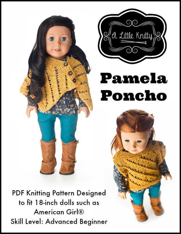 "A Little Knitty Knitting Pamela Poncho 18"" Doll Knitting Pattern Pixie Faire"