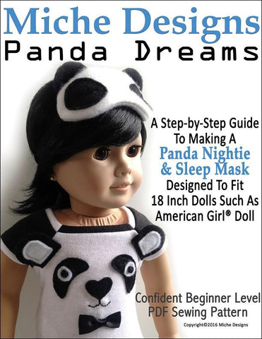 "Miche Designs 18 Inch Modern Panda Dreams 18"" Doll Clothes Pattern Pixie Faire"