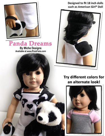 "Panda Dreams 18"" Doll Clothes Pattern"