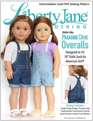 "Liberty Jane 18 Inch Modern Paradise Cove Overalls 18"" Doll Clothes Pattern Pixie Faire"