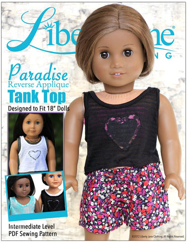"Paradise Reverse Applique Tank 18"" Doll Clothes Pattern"