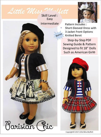 "Parisian Chic 18"" Doll Clothes Pattern"