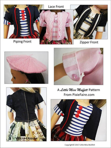 "Parisian Chic 14-14.5"" Doll Clothes Pattern"