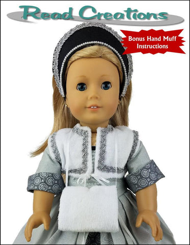 PDF doll clothes sewing pattern Reversible Tudor Partlet designed to fit 18 inch American Girl