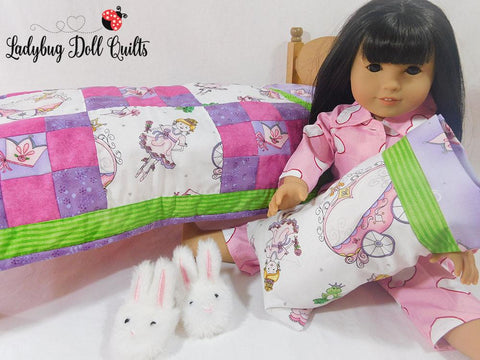 Ladybug Doll Quilt Patch Play bedding set pillow pillowcase designed to fit 18 inch American Girl Doll Bed