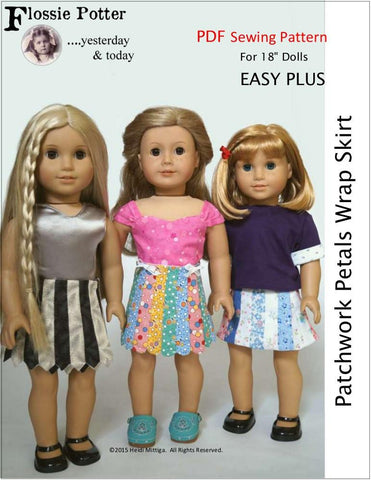 "Patchwork Petals Wrap Skirt 18"" Doll Clothes"