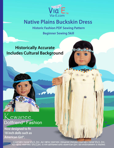 "Historic Fashions Native Plains Buckskin Dress 18"" Doll Clothes Pattern"