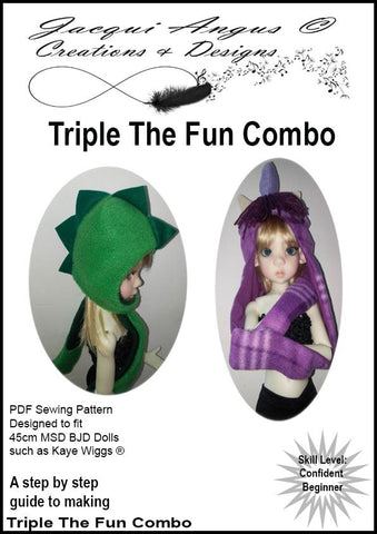 Jacqui Angus Creations & Designs BJD Triple the Fun Combo Pattern for MSD Ball Jointed Dolls Pixie Faire